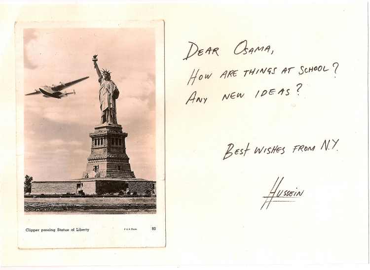 DEAR OBAMA  2008  Found postcard and ink on paper  8 x 10 in  (20,3 x 25,4cm)