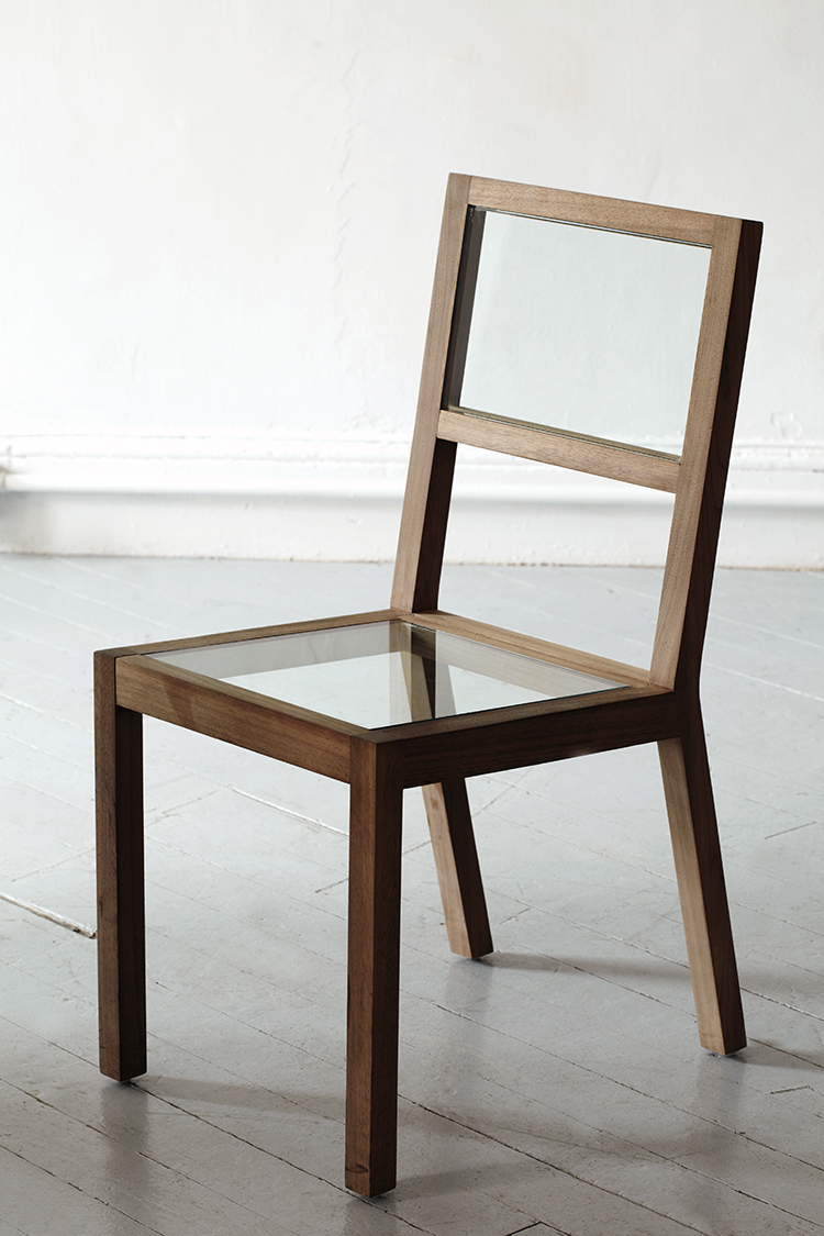 2009 Carved wood and tempered glass 31 x18 x17 in  (78,7 x 45,7 x 43,2cm) The Skeleton or Structure Chair takes the material of a chair and pairs it down to its minimum structure, thus rescuing the linear drawing of the basic iconic chair design. The surfaces are replaced by tempered glass with a slight green touch.