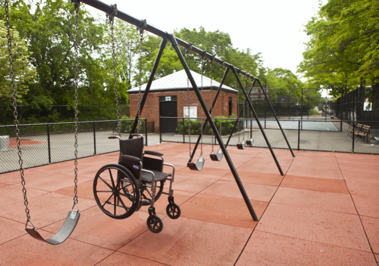 1999 and 2012  Steel swing and wheelchair  Public art installation in front of a rehabilitation center for handicapped children. Both children with and without disabilities can choose which of the two swings they want to use. The piece constitutes an early reminder of the parallel realities in life.