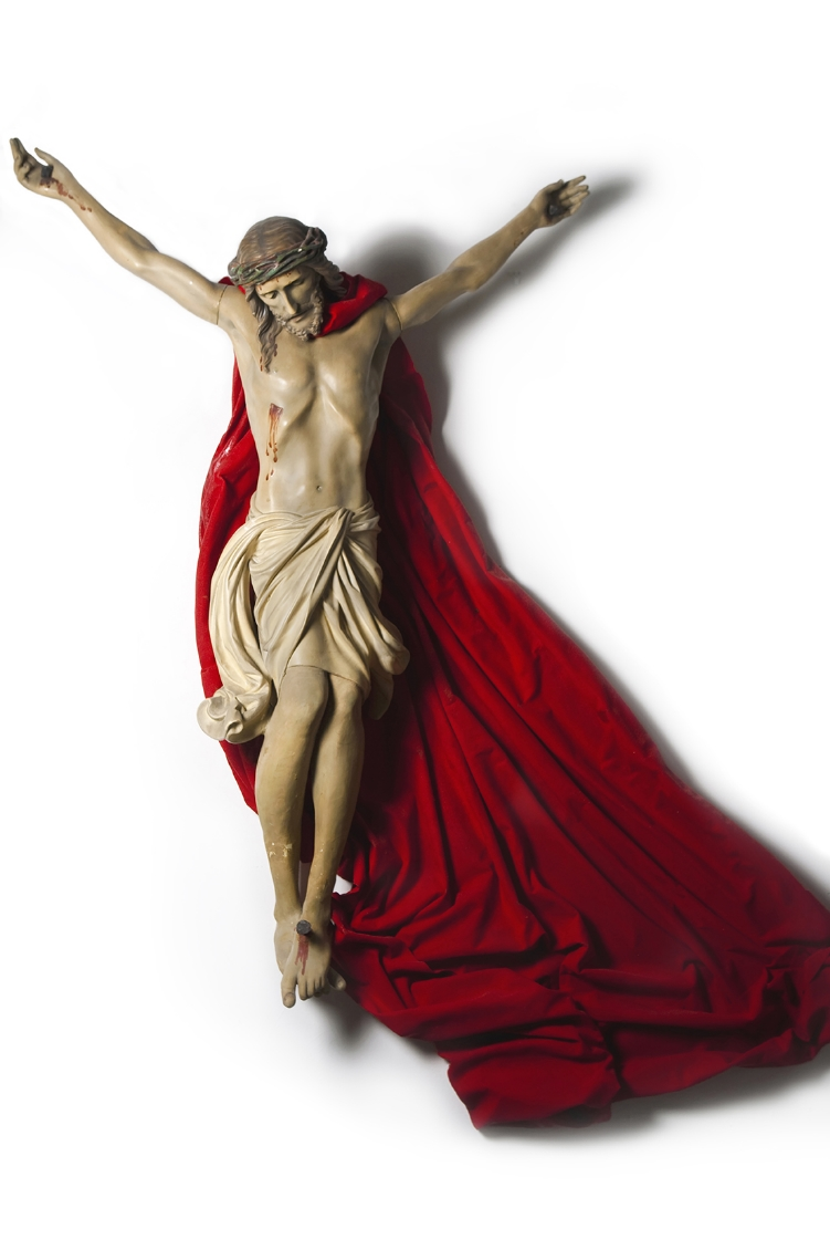 Superman Christ  2009  Found object, cloth and resin  84 x 70 x 22 in (213,4 x 177,8 x 55,9cm)