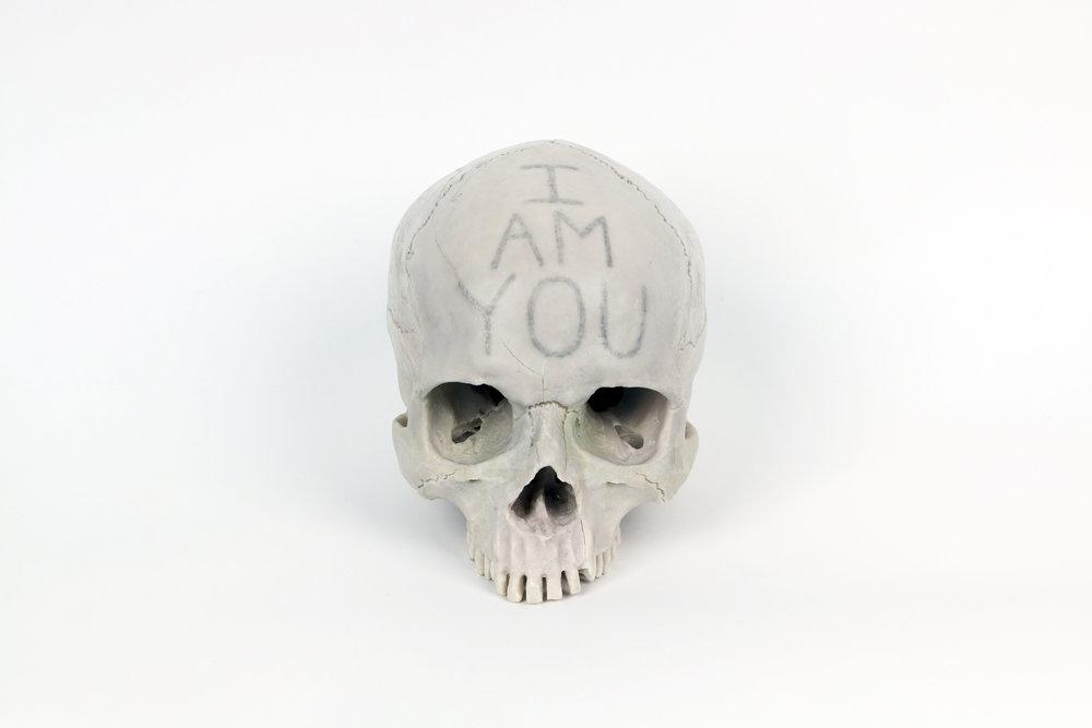 """2017   Pencil, Human skull replica   H:9""""x W:5""""1/4 x D: 7""""3/4"""