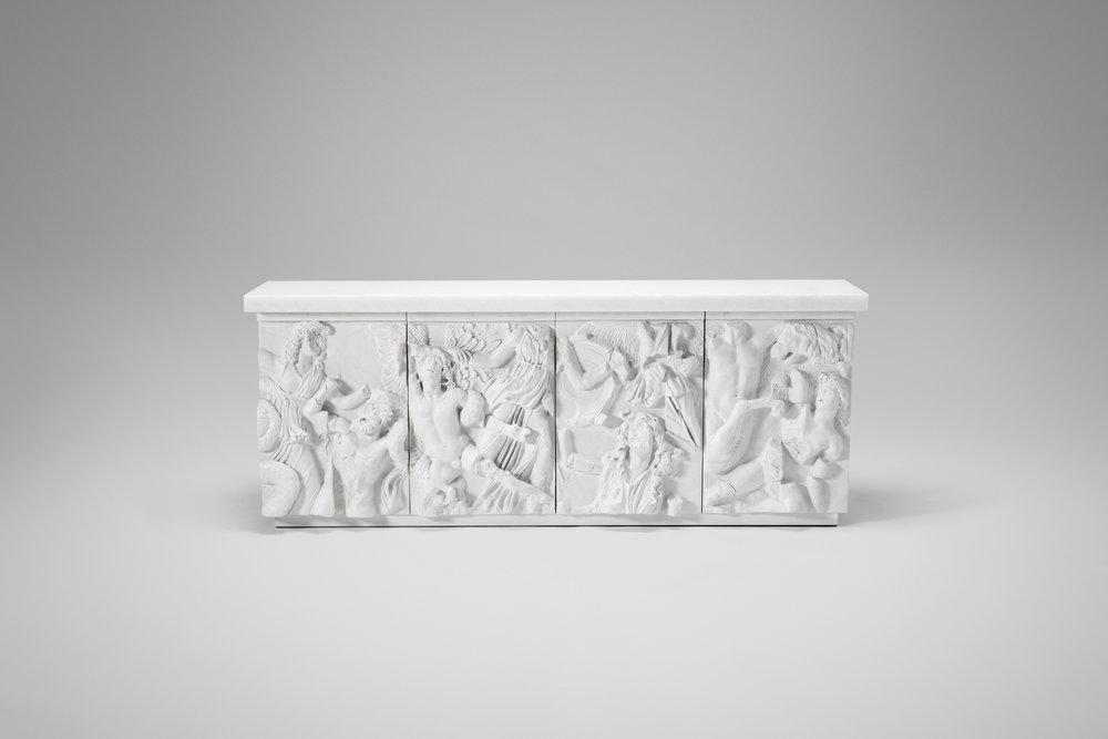 2018  White salt marble, marble composite, wood  H87 x L220 x D45 cm / H34.3 x L86.6 x D17.7 in