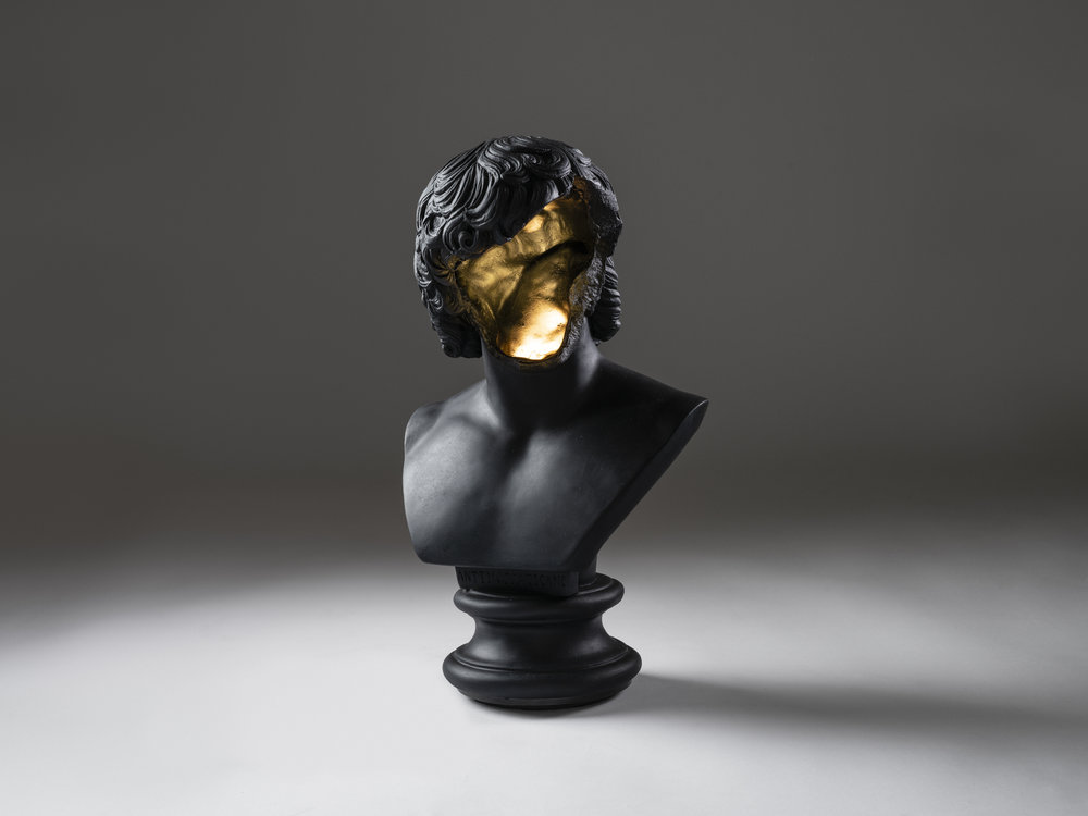 2018  Black marble composite, patinated brass, LED light  H41 x L25 x D15 cm / H16.1 x L9.8 x D5.9 in  2018  Marble composite, gold leaf, LED light  H41 x L25 x D15 cm / H16.1 x L9.8 x D5.9 in