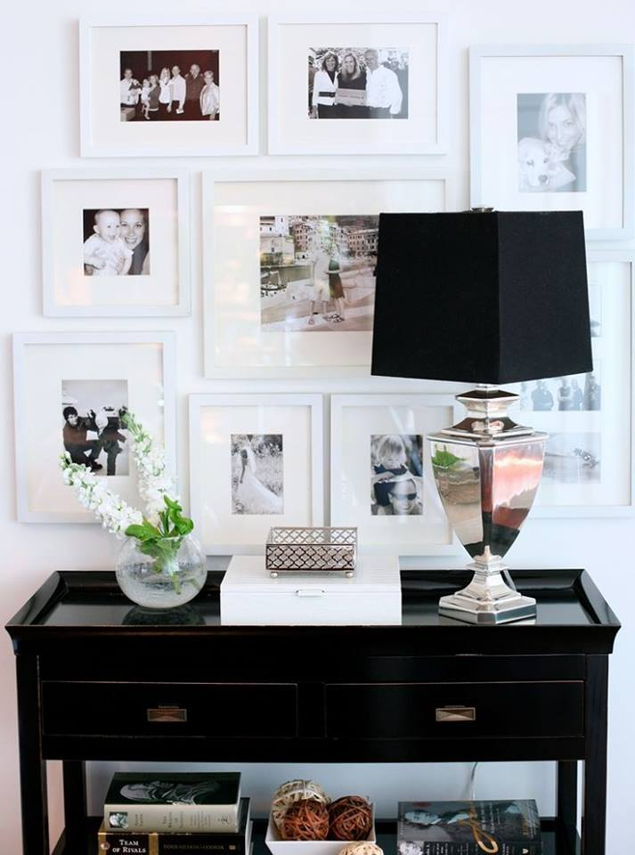 A great way to refresh a drab wall is to create a photo collage of all your favorite memories form the past year. This is easy, quick, and relatively inexpensive. Choose neutral color frames with pictures that pop so your family, friends, and memories truly stand out. Make your space your sanctuary and celebrate you!