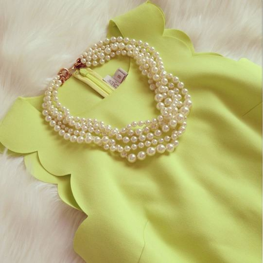 What's better for a spring party than some great pearls and a scallop trimmed top? You really can't go wrong!