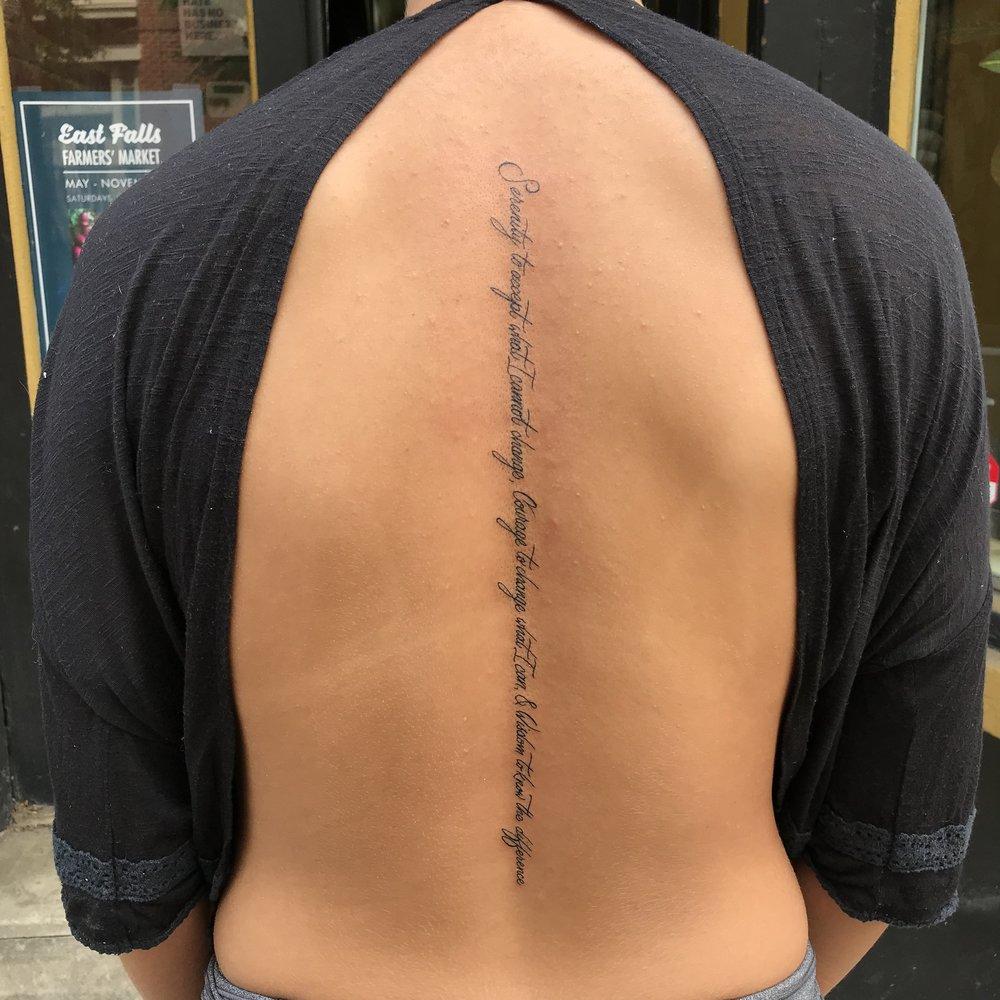 lettering Justin Turkus Philadelphia fine line script custom best Tattoo Artist calligraphy type back script spine serenity.jpg