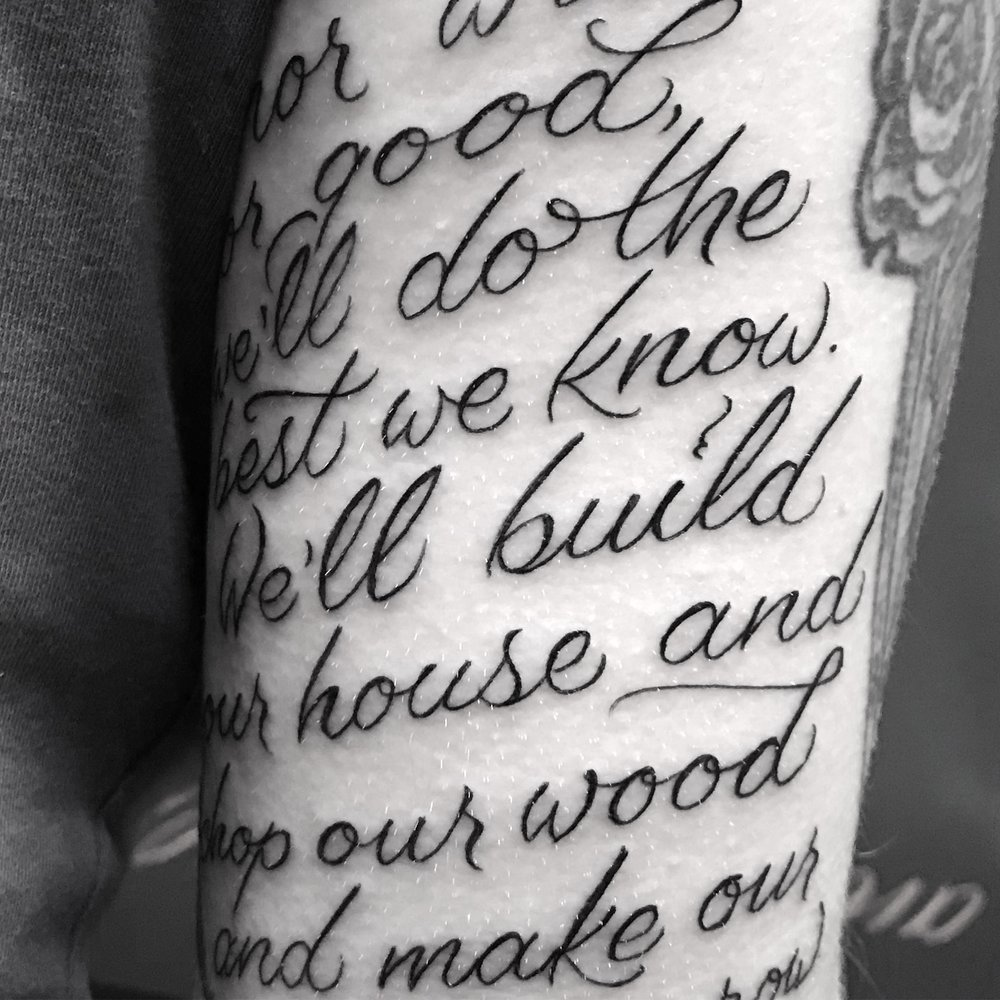 lettering Justin Turkus Philadelphia fine line script custom best Tattoo Artist calligraphy type casey build our house.jpg