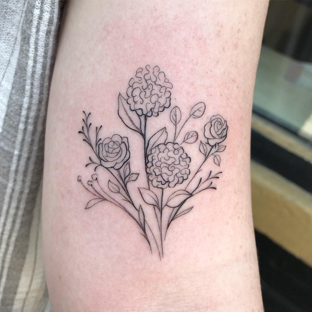 fine line single needle Justin Turkus Philadelphia best tattoo artist bouquet floral 1.jpg