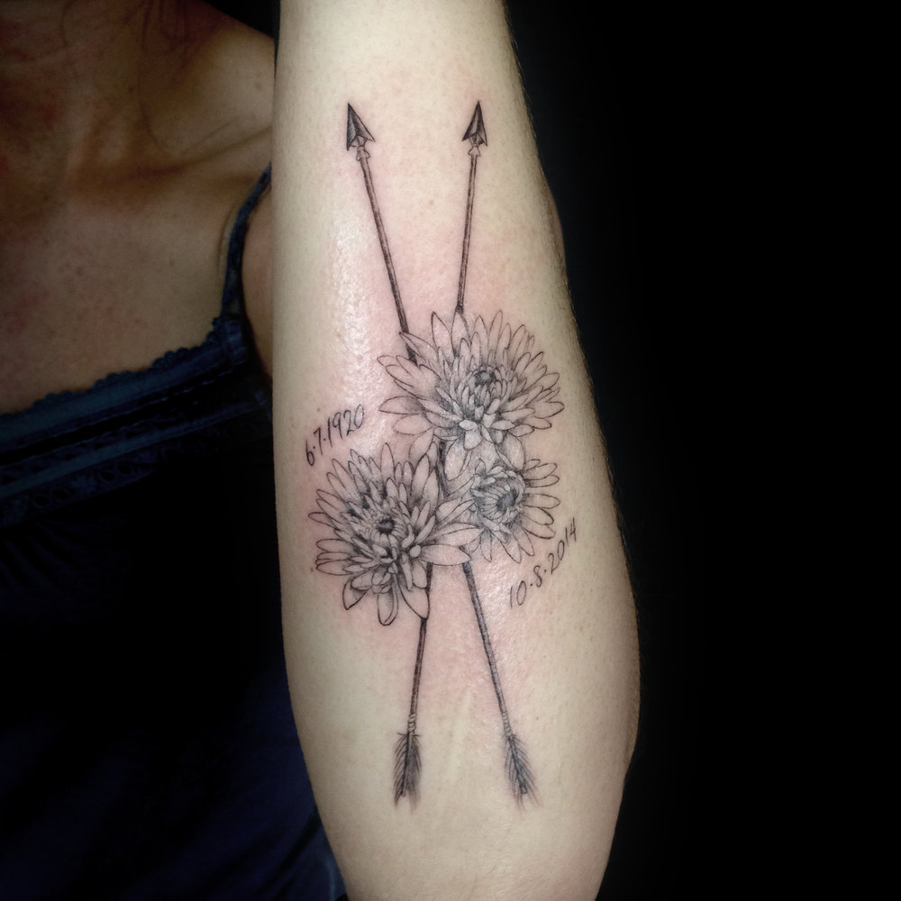fine line single needle Justin Turkus Philadelphia best tattoo artist chrysanthemum arrow memorial.jpg