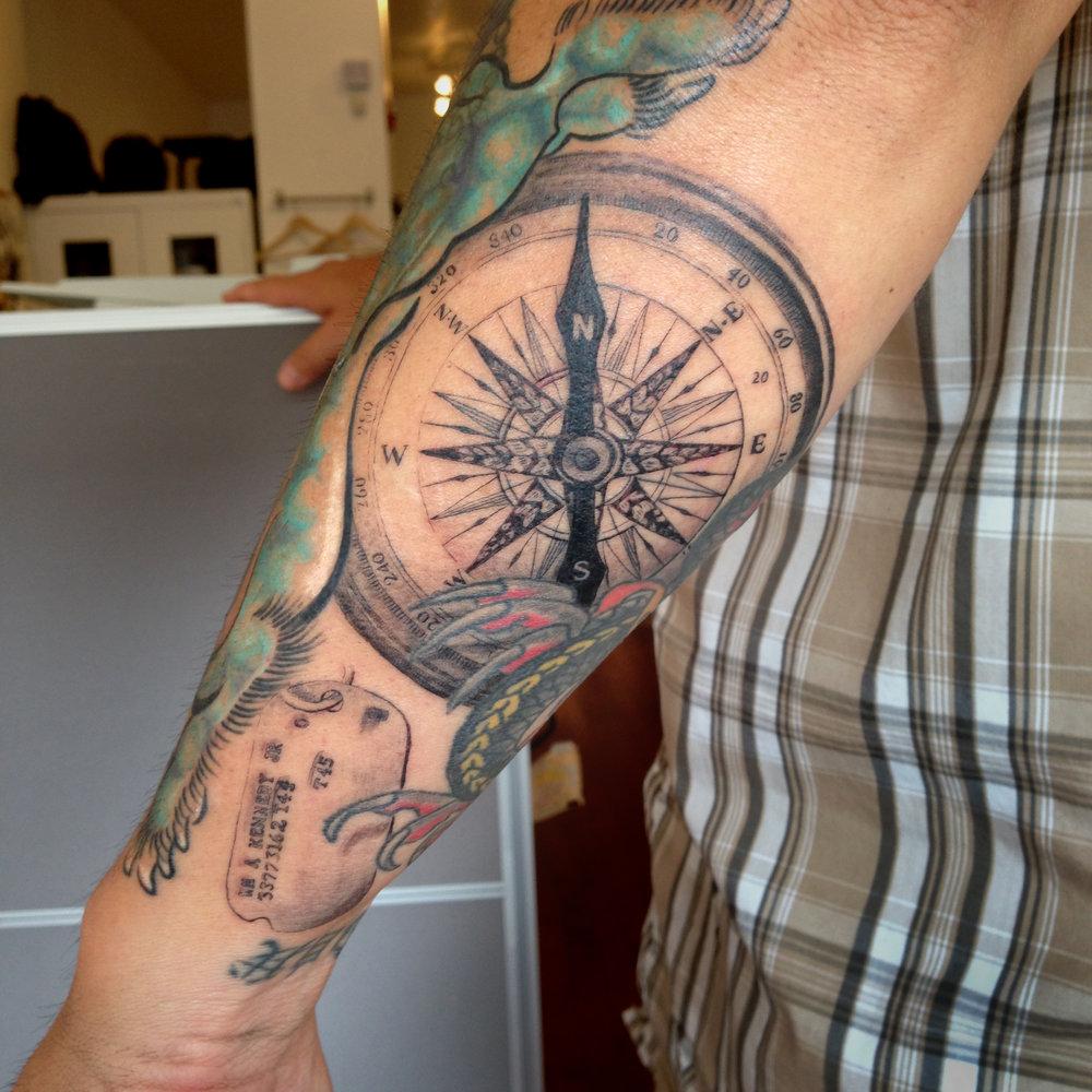 fine line single needle Justin Turkus Philadelphia best tattoo artist compass dog tag wong sleeve.jpg