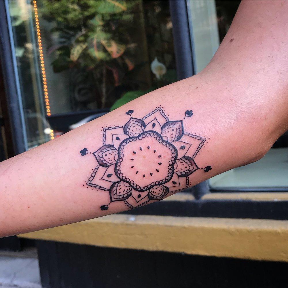 fine line single needle Justin Turkus Philadelphia best tattoo artist mandala forearm.jpg