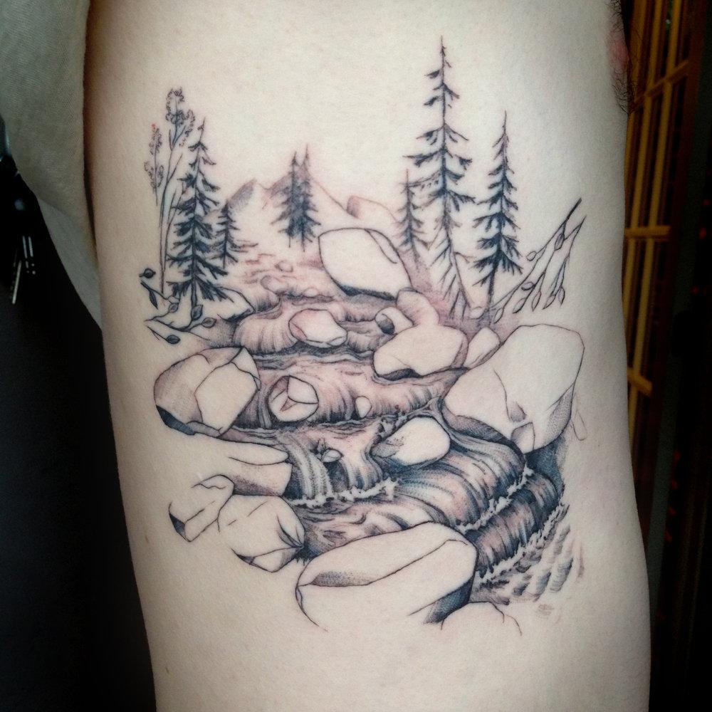 fine line single needle Justin Turkus Philadelphia best tattoo artist river michael pine tree trees mountains.jpg