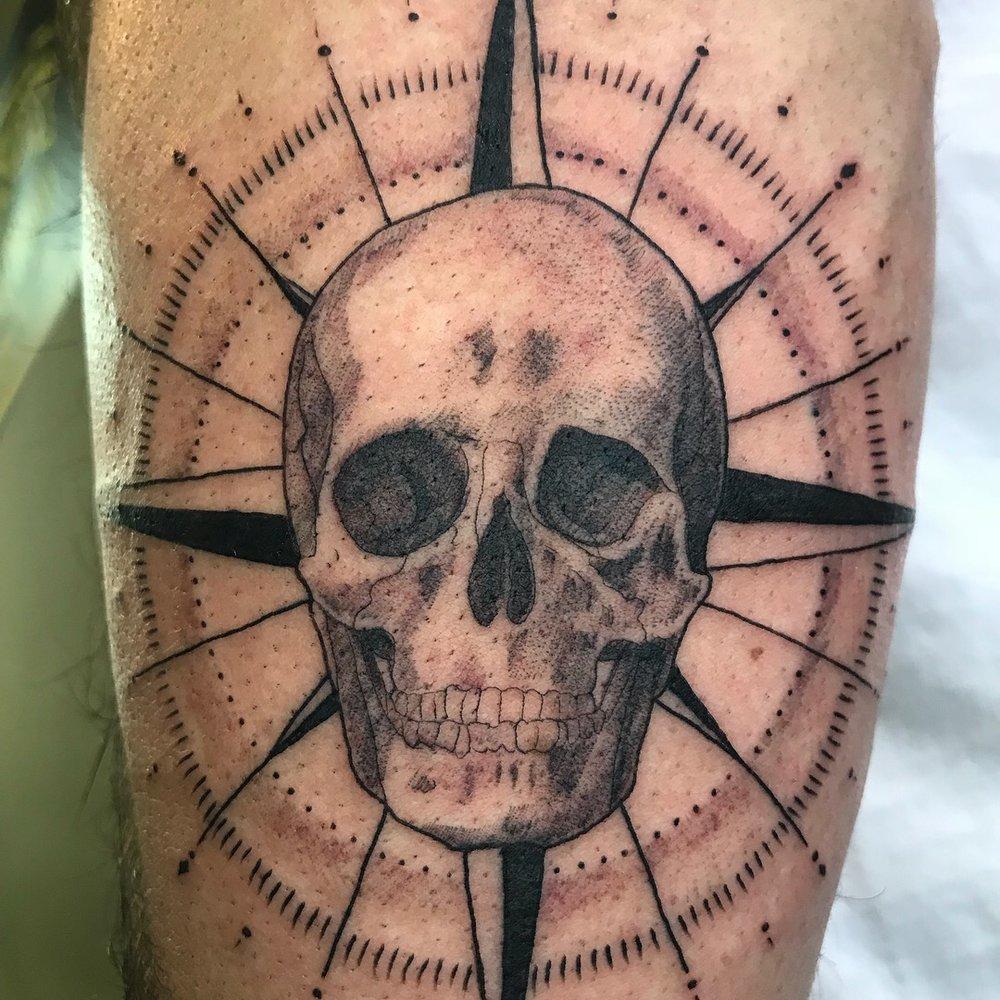 fine line single needle Justin Turkus Philadelphia best tattoo artist skull compass detail.jpg