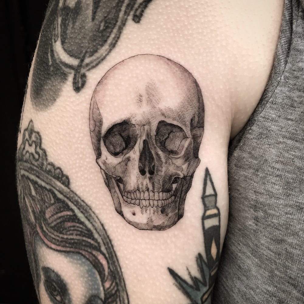 fine line single needle Justin Turkus Philadelphia best tattoo artist skull casey anatomical.jpg