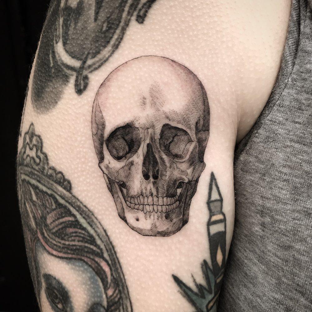 fine line single needle Justin Turkus Philadelphia best tattoo artist skull casey anatomical.jpg