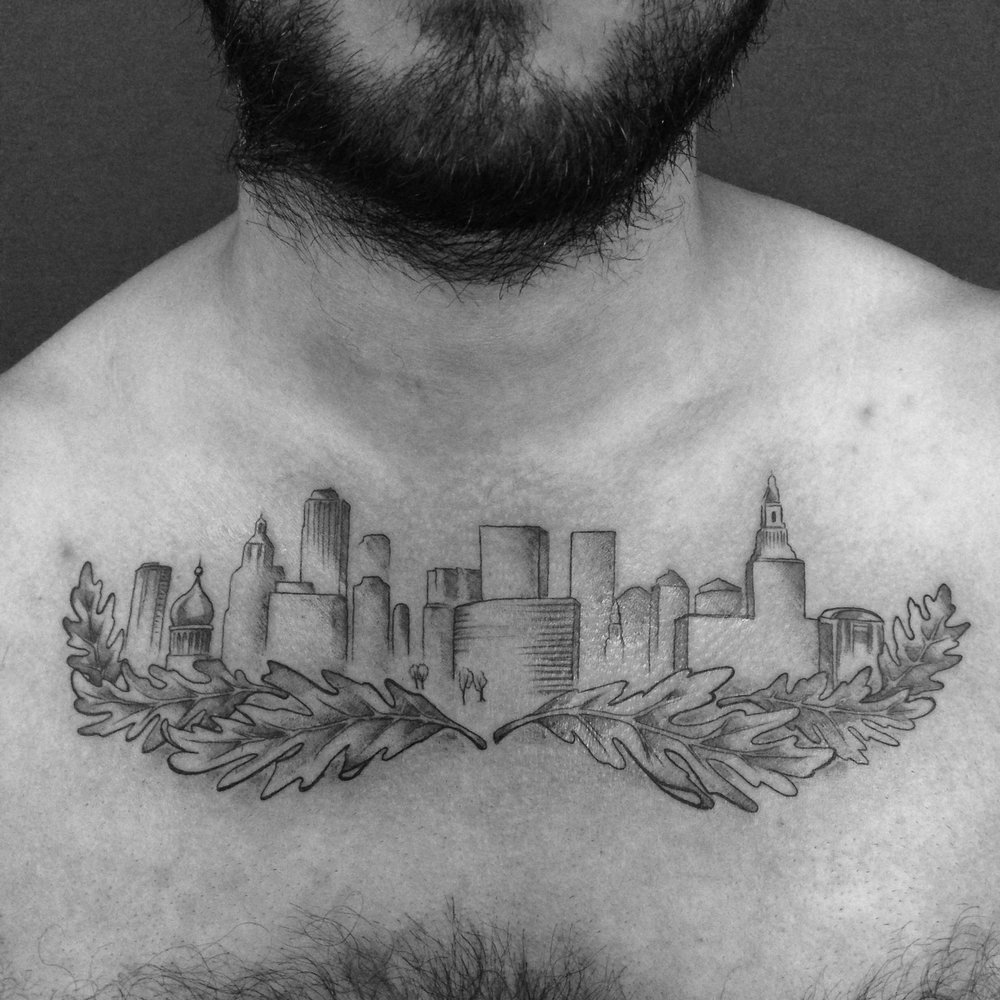 fine line single needle Justin Turkus Philadelphia best tattoo artist skyline chest rocker oak leaves.jpg