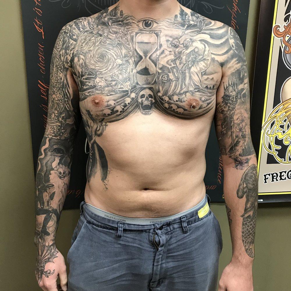 bg Justin Turkus Philadelphia fine line lettering best tattoo Artist bodysuit wip john skull death eye hourglass sleeve chest healed fullsize.jpg