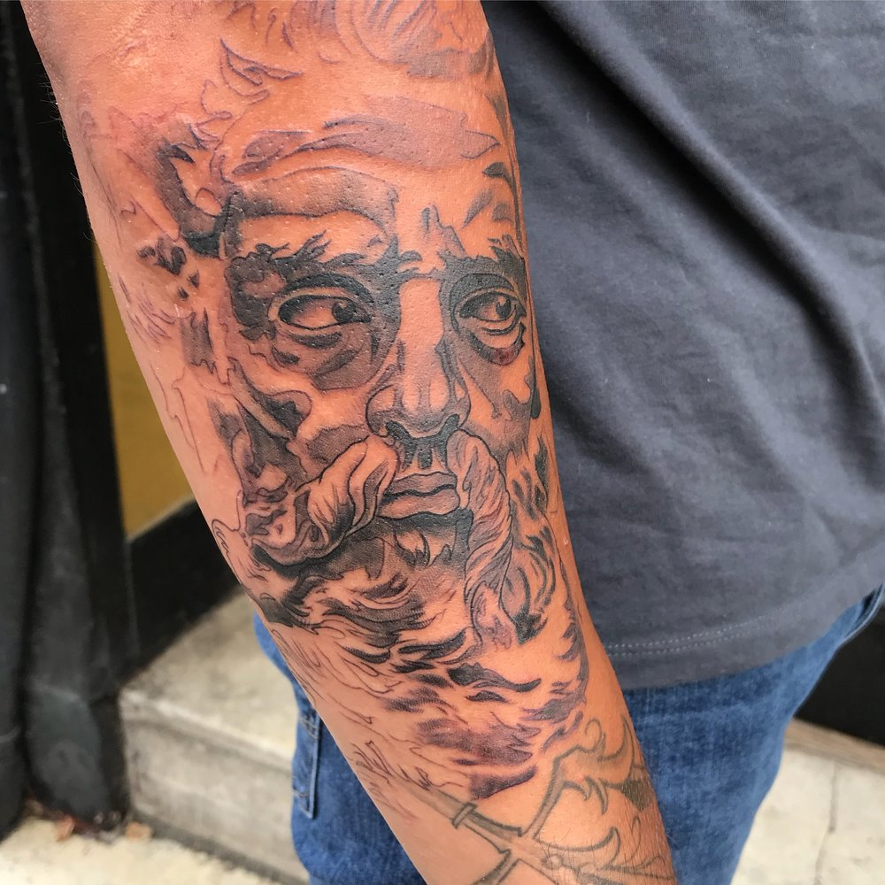 bg Justin Turkus Philadelphia fine line lettering best tattoo Artist poseidon neptune sculpture wip ed fullsize.jpg