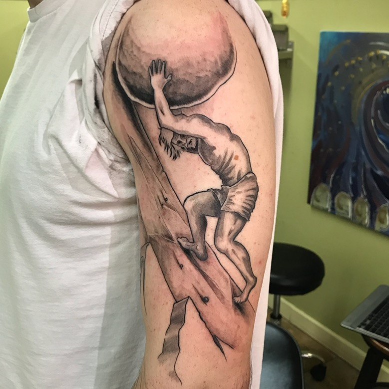 bg Justin Turkus Philadelphia fine line lettering best tattoo Artist sisyphus rock.jpg