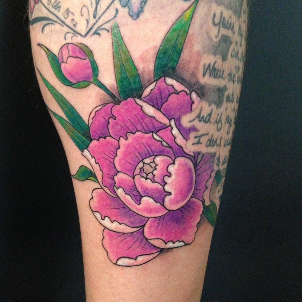 color Justin Turkus Philadelphia fine line lettering tattoo artist  peony tj pink.jpg