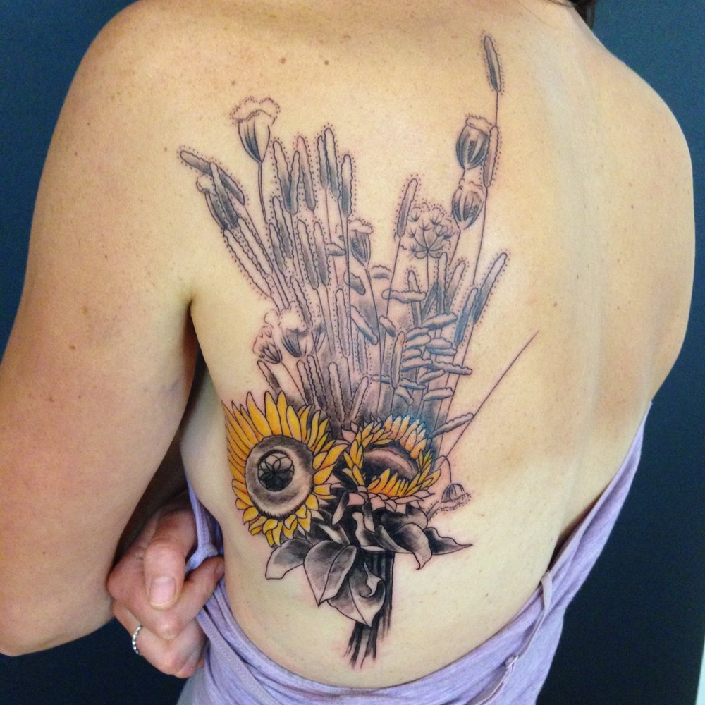 color Justin Turkus Philadelphia fine line lettering tattoo artist black grey sunflower.jpg