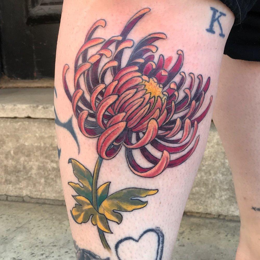 color Justin Turkus Philadelphia fine line lettering tattoo artist chrysanthemum mitzy vintage.jpg