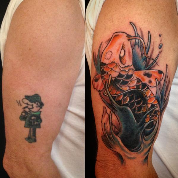 color Justin Turkus Philadelphia fine line lettering tattoo artist coverup before after koi.jpg