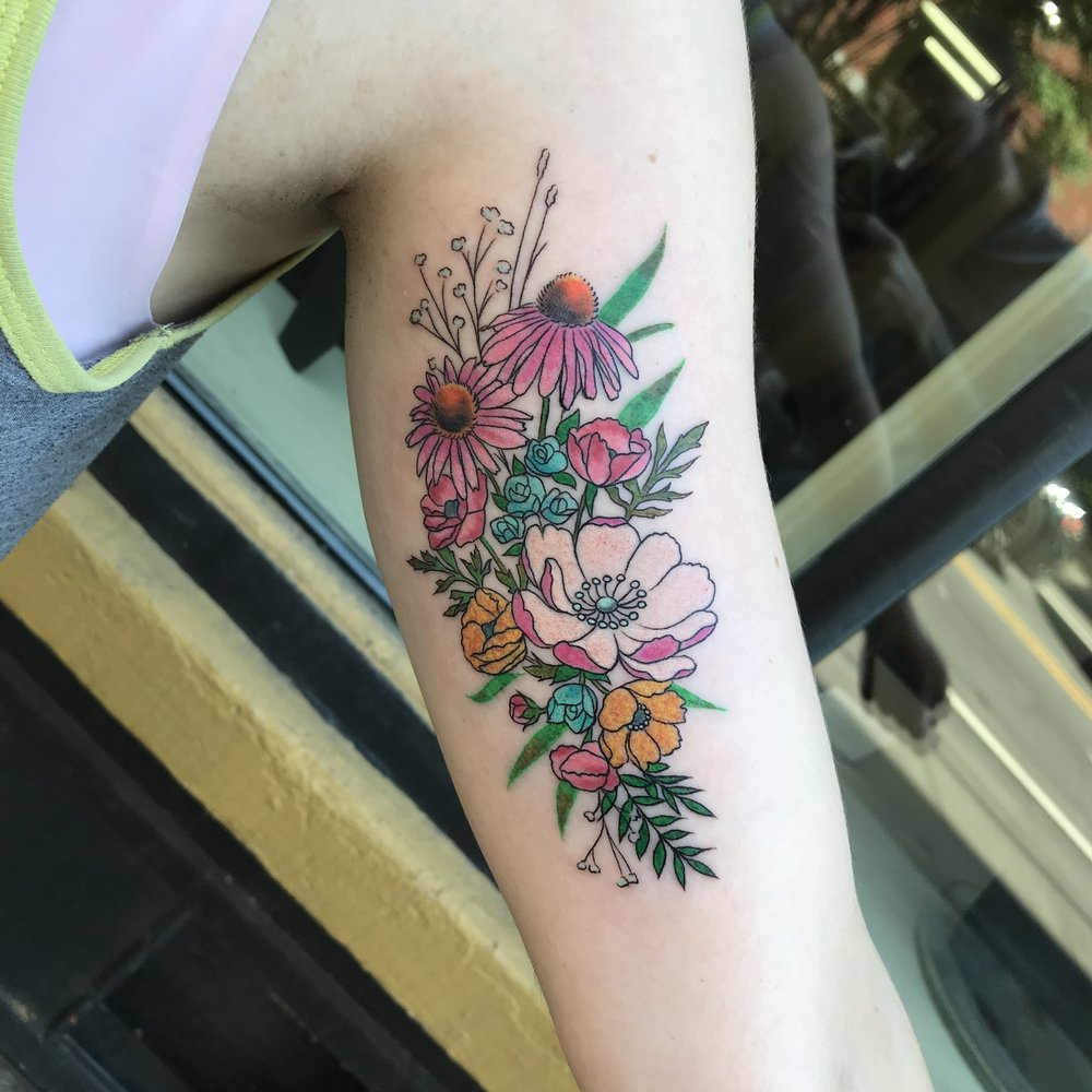 color Justin Turkus Philadelphia fine line lettering tattoo artist flowers tiny bouquet.jpg
