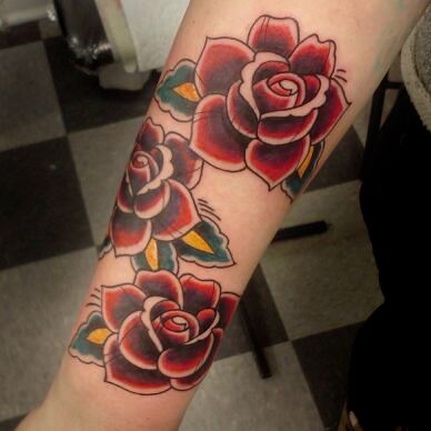 color Justin Turkus Philadelphia fine line lettering tattoo artist leigh traditional rose roses.jpg