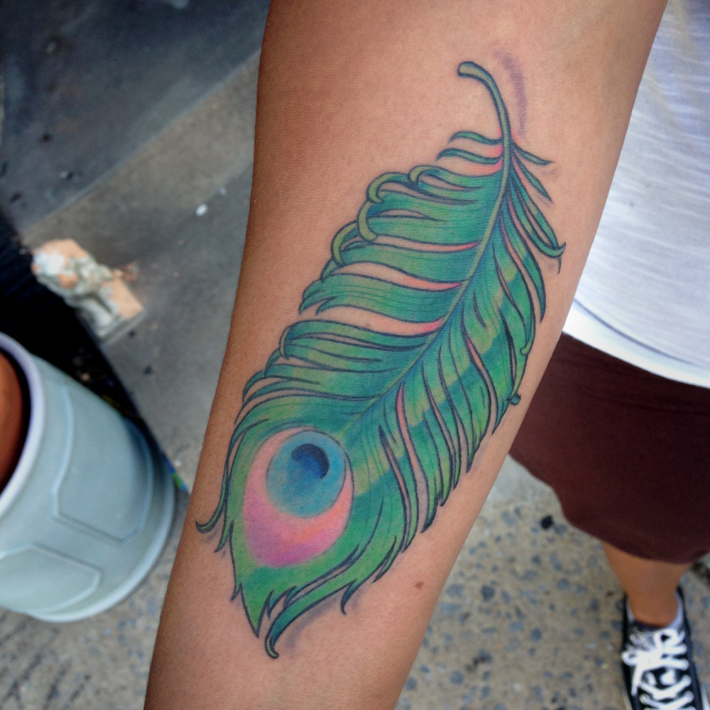 color Justin Turkus Philadelphia fine line lettering tattoo artist peacock feather forearm.jpg