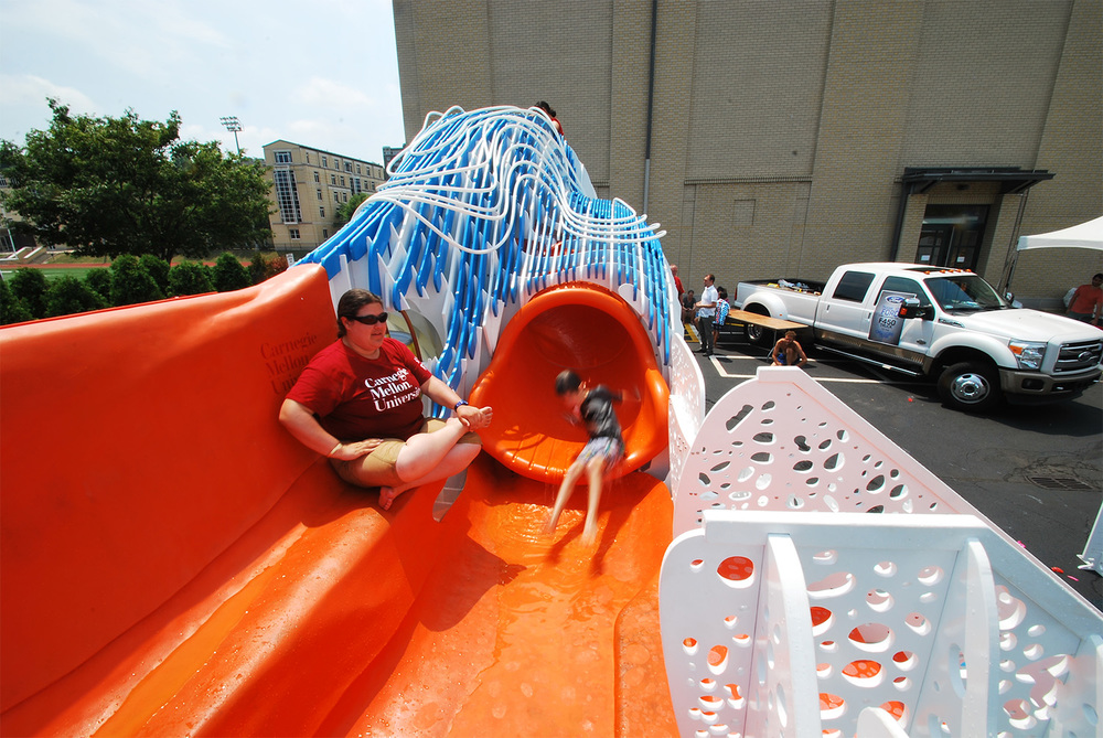 Deployment on June 22, 2012. Hitch/Exit side view of children on the PURIFLUME slide.