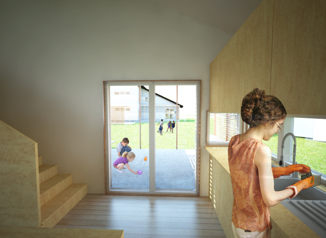 Views from the kitchen allow parents to check on children playing outdoors.
