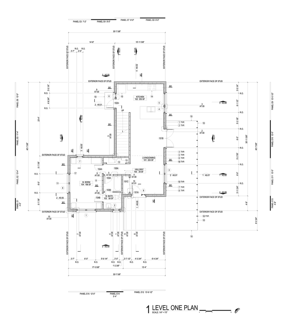 First floor plan excerpt from construction document set.