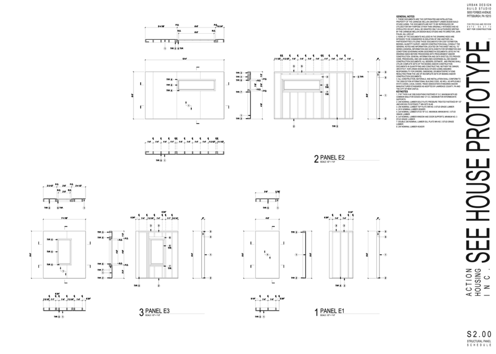Modular framing structural drawing excerpt from construction document set.