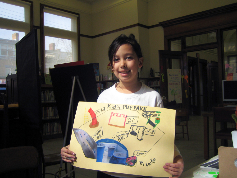 At a LLPC event prior to UDBS involvement: a child reimagines what the vacant space could become.