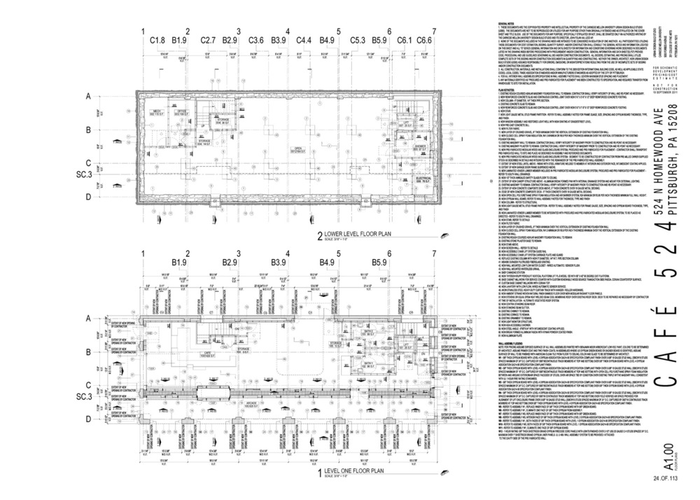 Basement and first floor plans from construction documents set.