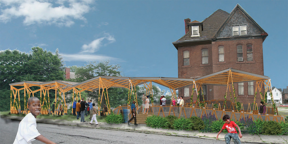 Montage of the proposed community pavilion.