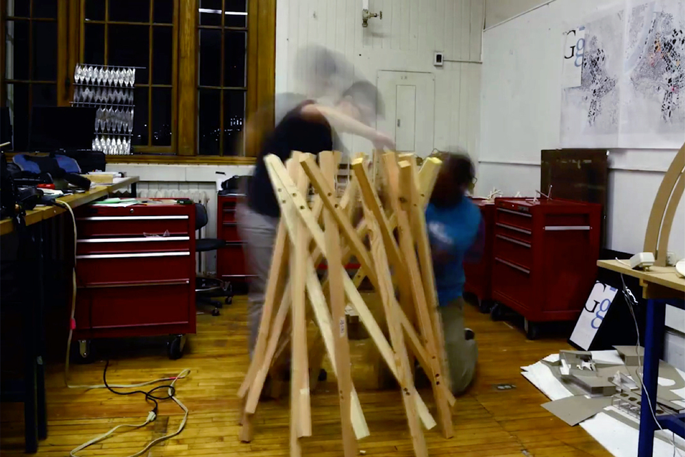 Robotic stacking student work, with Professor Joshua Bard