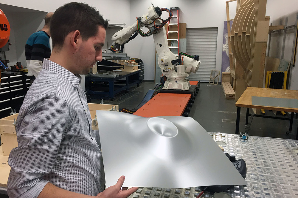 Robotic metal forming student work, with Professor Jeremy Ficca