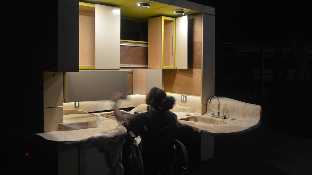 The ergonomic landscape is embedded with tactile cues to assist visually impaired users and those with memory loss