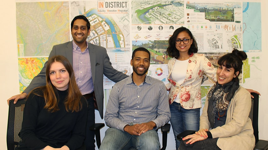 From left, Shannon Iacion (master's degree student in Building Performance and Diagnostics), Varun Patel (master's degree student at Tepper School of Business), Ernest Bellamy (team leader and student in the Master of Urban Design program), Shruti Srikar (master's degree student in Architecture / Engineering / Construction Management (AECM), and Lola Ben Alon (doctoral student in AECM), will represent CMU in a national design competition in April. Photo credit: Samantha Weaver