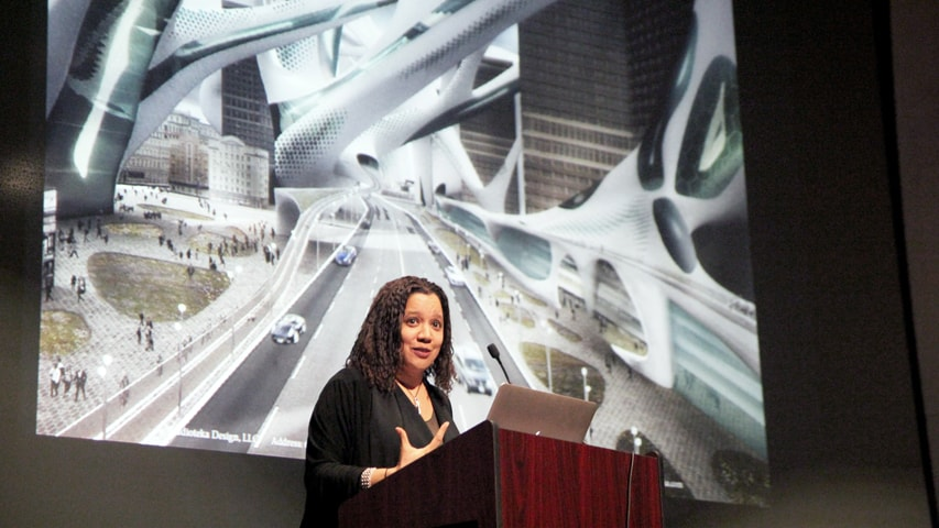 "Vanessa Keith, principal of StudioTEKA who discussed her book ""2100: A Dystopian Utopia — The City After Climate Change"" as part of this year's School of Architecture lecture series."