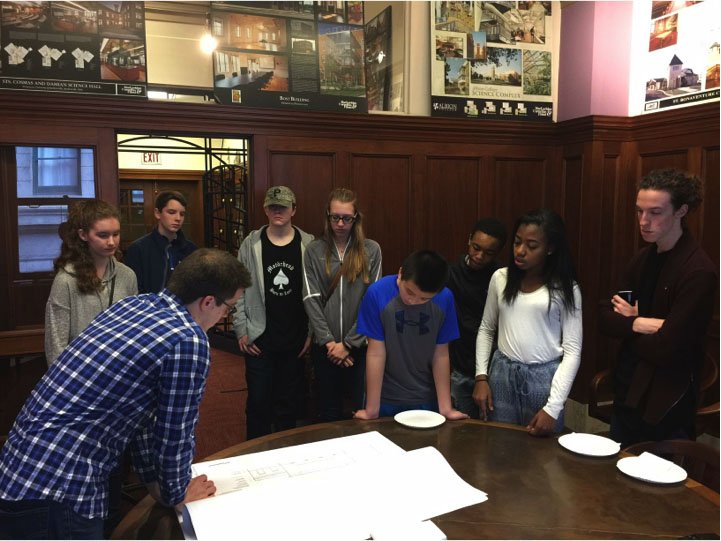 Students from the spring Saturday Sequence program participate in a design charrette with a local architecture firm.