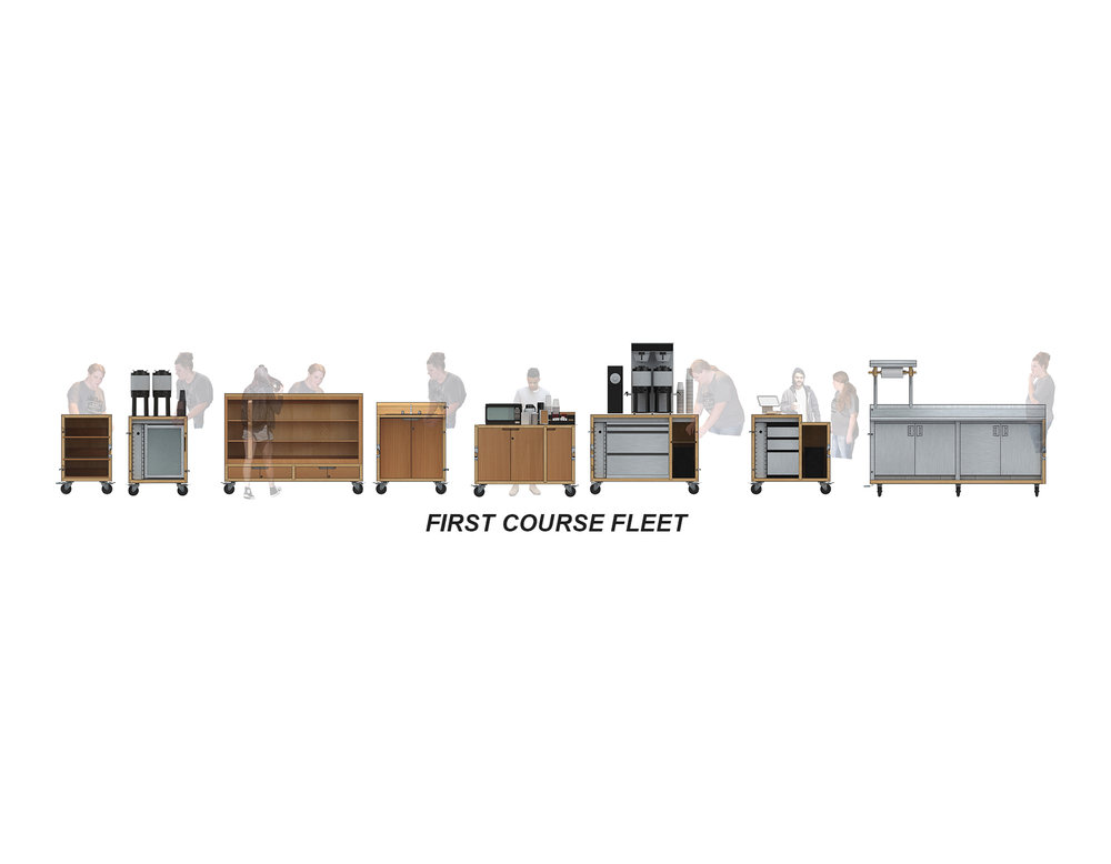 "FIRST COURSE is composed of a series of program-specific carts, including (from left to right) two small display carts, a fridge cart, a large display cart, a sink cart, a ""fixin's"" cart, a coffee cart, a transaction cart, and a large steel cooler cart."