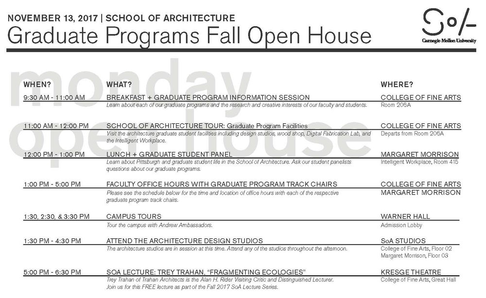 Download the Graduate Open House Schedule (PDF)