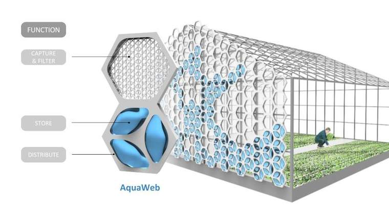 The AquaWeb module is a multifunctional biomimetic system to integrate water capture, filtration, storage and distribution into food production building envelopes such as greenhouses and container farms.