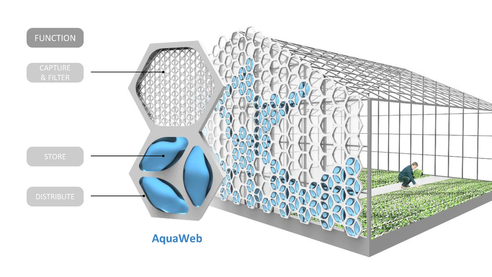 NexLoop is developing the AquaWeb, a modular, biomimetic, all-in-one water sourcing and management system to help urban food producers collect, filter, store, and distribute atmospheric water.