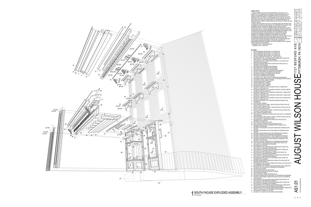 Exploded assembly drawing of the August Wilson House Bedford Avenue facade generated by studio to communicate with the collaborating architect, general contractor, fabricator, material suppliers, and Pennsylvania Historical and Museum Commission.
