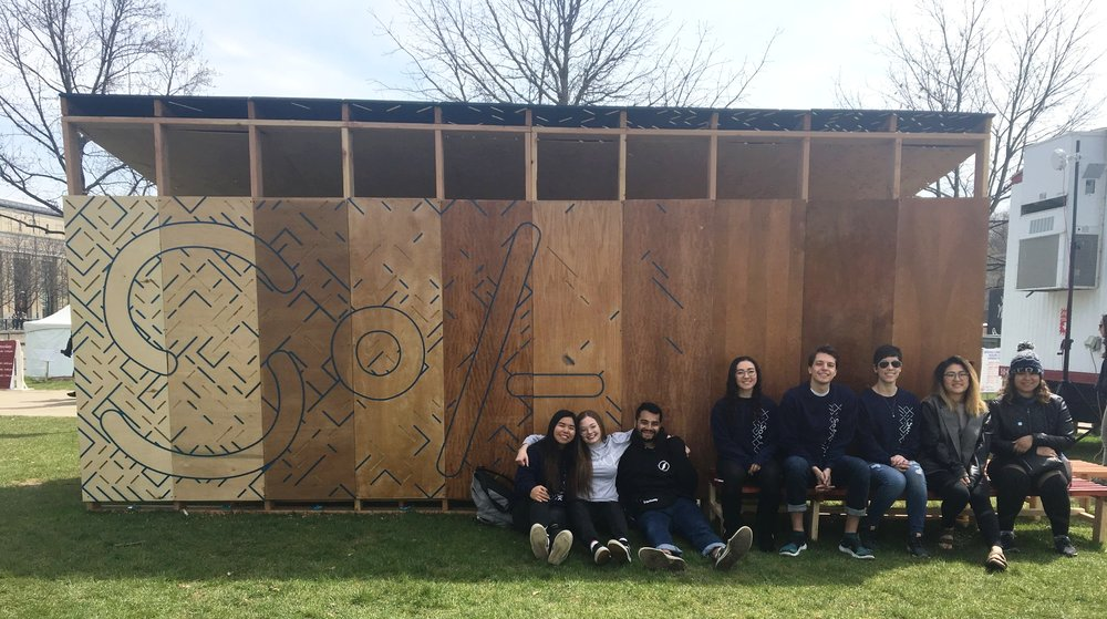 Students pose with the completed SoA Pavilion during 2018 Spring Carnival