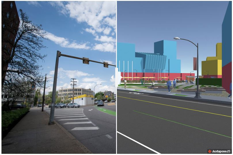 A photo shows an area near the intersection of S. Negley and Centre avenues in Pittsburgh.Sujan Das Shrestha, a MUD graduate student, created a visualization of how the space could be redesigned. The MUD urban systems studio applied 3D software to  a series of data and design projects .